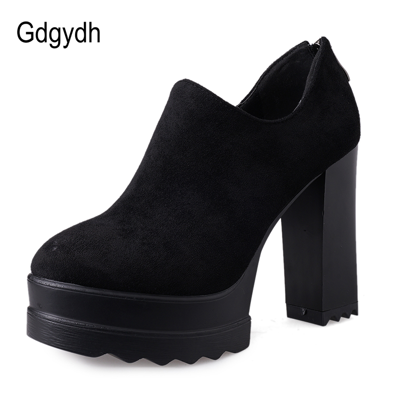 Gdgydh 2020 New Spring Women Pumps Black High Heels Shoes Platform Party Shoes Female Flock Zipper Big Size Nightclub Office New