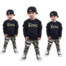 2pcs Toddler Infant Kids Baby Boys Clothes Tee Letter lil KING Camo T-shirt Tops Pant Outfits Set 1-6T Summer Autumn Costume 2pcs kids fashion clothes sets toddler kid baby boys summer letters t shirt tops camo pants child outfits 1 6t 2019