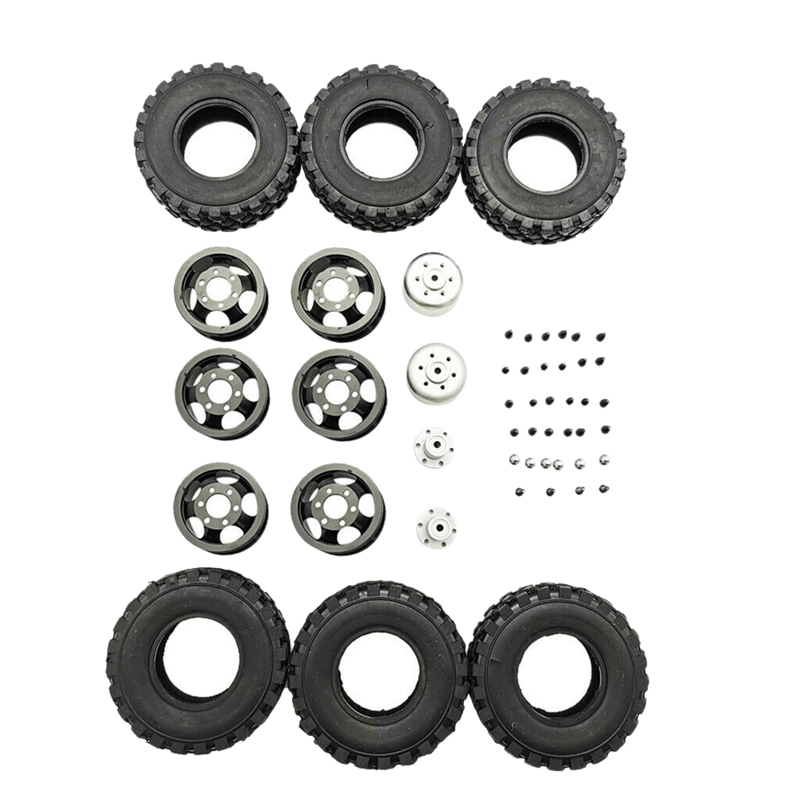 DIY Double Tire Metal Wheel KIT for Wpl B14 B24 Q62 Q63 1/16 Truck 4WD Rc Car Parts(Black)