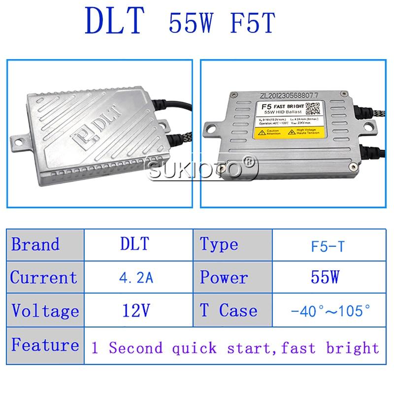 SUKIOTO AC 12V HID DLT Xenon Ballast 55W F5 Fast Start Slim Block Ignition For Car Headlight H1 H3 H7 H8 H11 HID Coversion Kit (4)