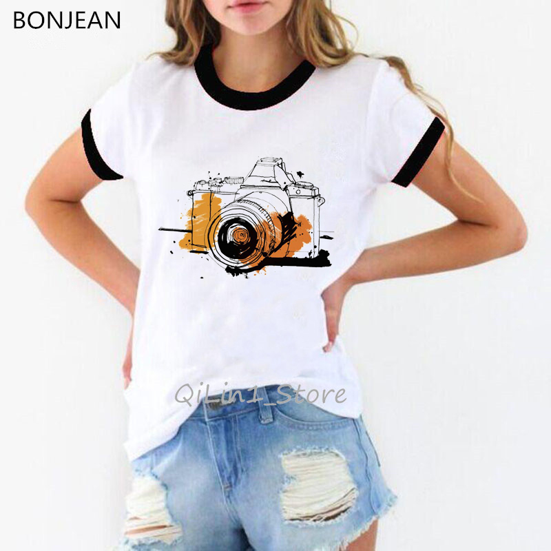 Watercolor Flower Camera Printed Tshirt Women Vintage T Shirt Femme Streetwear Holiday Shirt 90s Tumblr Clothes Summer Tops Tees