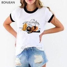 Watercolor flower camera printed tshirt women vintage t shirt femme streetwear holiday shirt 90s tum