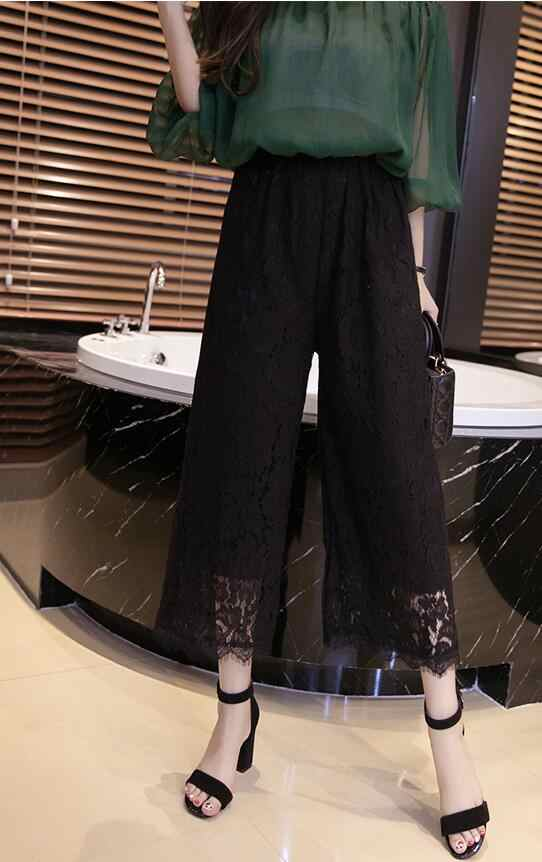 2019 Calças pantalones mujer Sexy do Laço das Mulheres Verão Metade Da Panturrilha Comprimento Calças Soltas Cintura Elástica Calças Perna Larga Plus Size 4XL