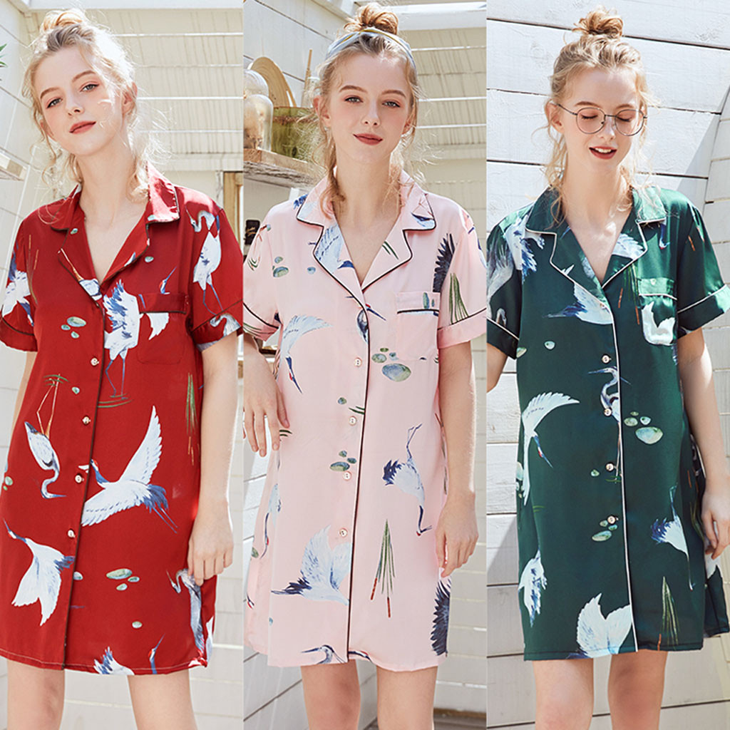 Women Ladies Summer V-neck Short Style Printed Silk Home   Nightgown     Sleepshirts   Female Print Fashion Casual Sleepwear