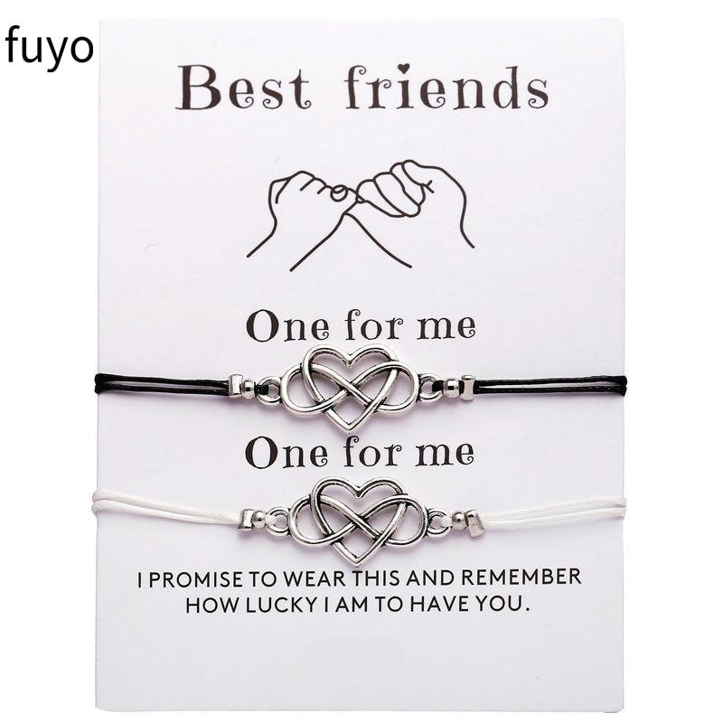 2pcs/set Fashion Heart Couples Bracelets Set For Women Men Infinite Bracelet Bangle Best Friend Wish Jewelry Best Gift