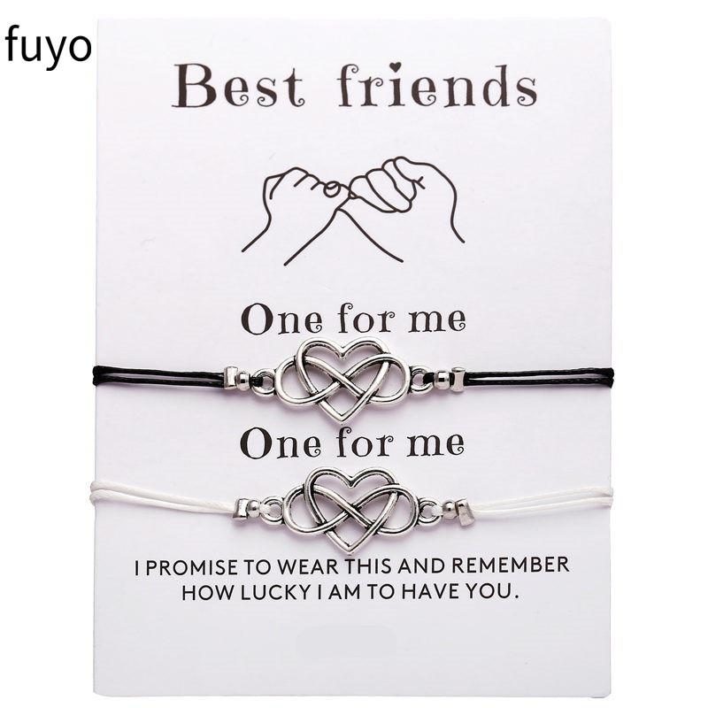 2pcs/set Fashion Heart Couples Bracelets Set For Women Men Infinite Bracelet Bangle Best Friend Wish Jewelry Best Gift image