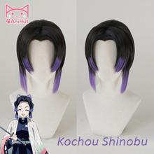 【AniHut】Kochou Shinobu peruk Kimetsu hiçbir Yaiba iblis avcısı Cosplay saç sentetik isıya dayanıklı saç Kochou Shinobu Cosplay