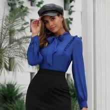 JYSS trendy dark blue blouses woman roupa feminina long sleeve camisas mujer bowknot bandage office wear ol blouse lady 30033