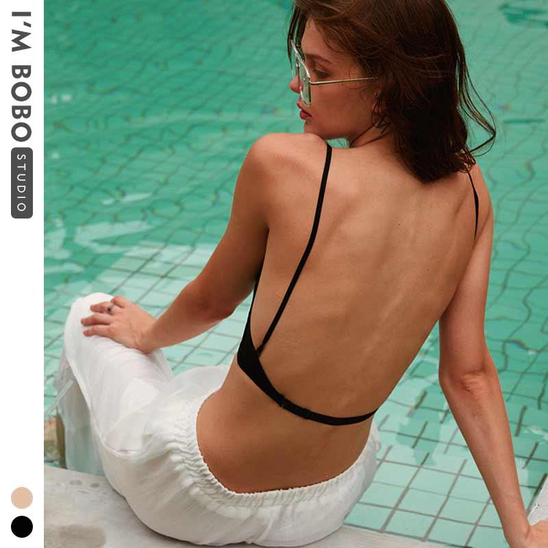 New Sexy Low Back Bralette White Bra Bustier Crop Top Polka Dot Mesh Ultra Thin Underwear Women Lingerie Sexy Tank Tops Bra