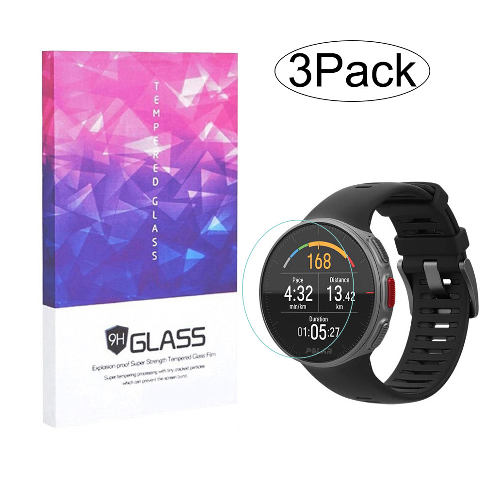 3 Pack for Polar Vantage M / V Screen Protector 9H Tempered Glass with Wooden Box 2.5D Anti Scratch Bubble-free Protective