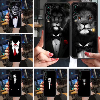 Cool Man Suit Shirt Tie Phone case For Huawei P Mate Y3 Y9 10 20 30 40 Smart Z Pro Lite 2017 2019 black tpu hoesjes painting image