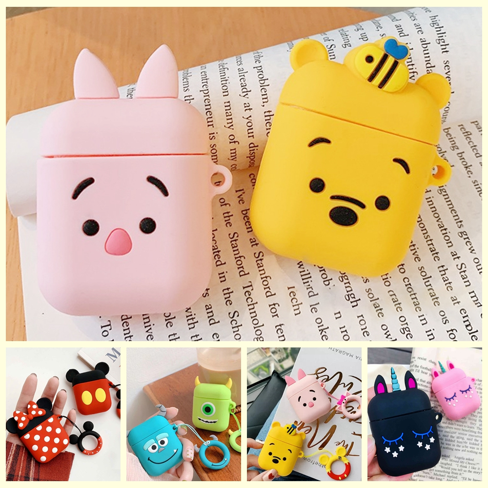 For AirPods Case Cute Cartoon Funny Wireless Earphone Cover Funda For Air Pods 2 Headphone Case With Animal Ring Case Capa