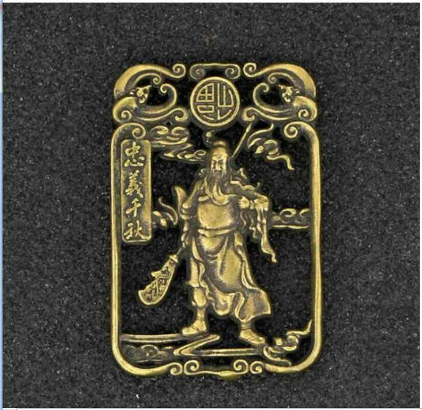 Patung Koleksi Kuningan Ukiran Guan Gong Guan Yu Berkat Kartu Kecil Yang Indah Liontin Patung