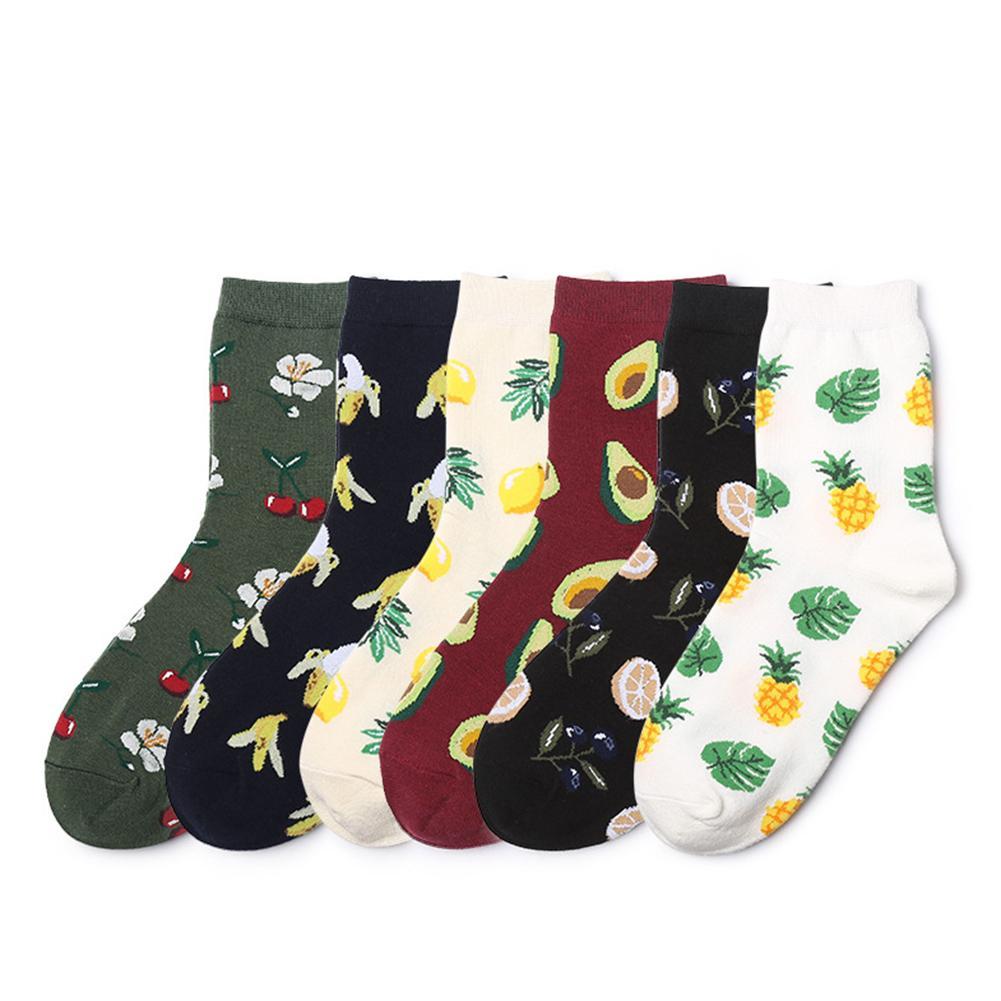 Fashion Unisex Cotton Warm Avocado Pineapple Banana Cherry Blackberry Leaf Socks