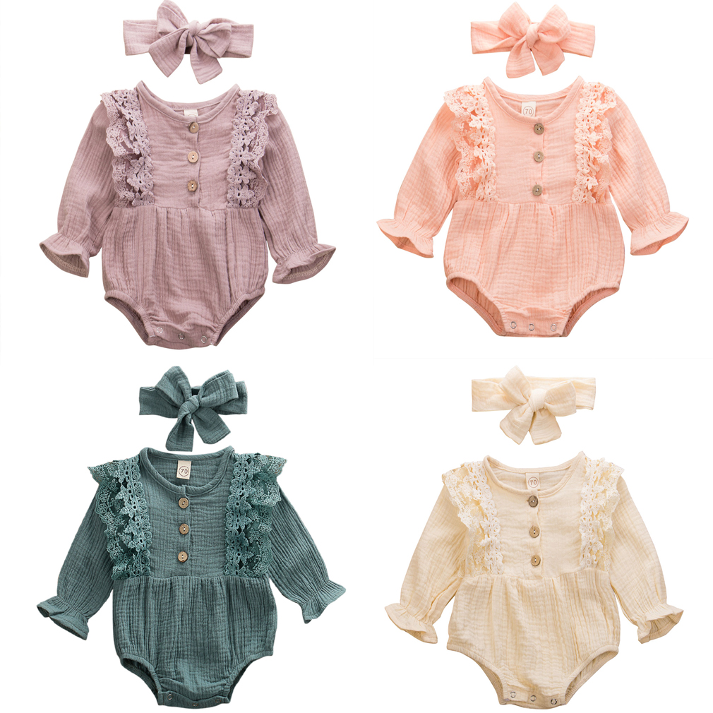 2pcs Newborn Toddler Kids Baby Girl Long Sleeve Romper Jumpsuit Playsuit Set