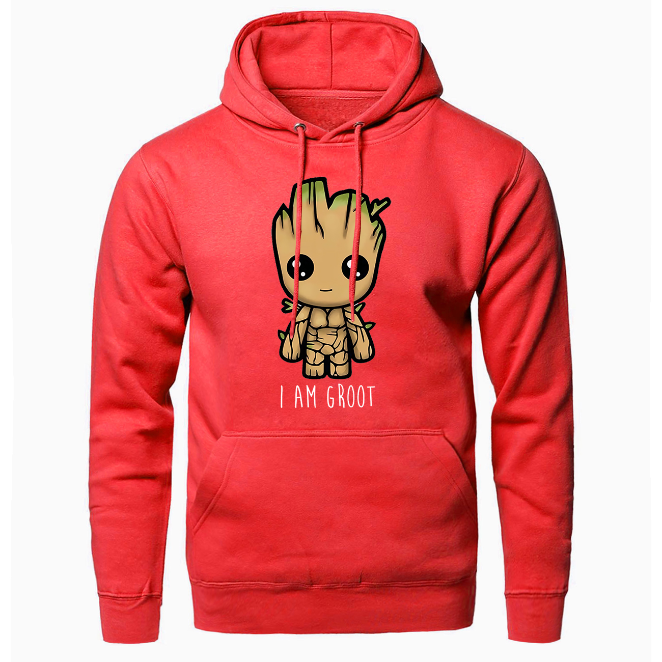 Men Fashion Groot Anime Printed Hooded Tracksuits Handsome Fluffy Fleece Sweatshirt Spring Autumn Hip Hop Streetwear Man Jackets