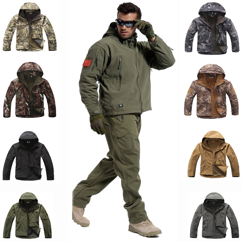 Tactical Sets Men Sharkskin Softshell TAD Jacket Or Pants Military Uniform Hiking Camping Waterproof Camouflage Hunting Clothes