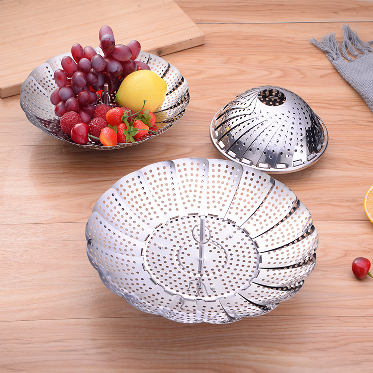 Caitang Manufacturers Direct Selling Telescopic Stainless Steel Steaming Tray Multi-functional Kitchen Supplies-Folding Steamer