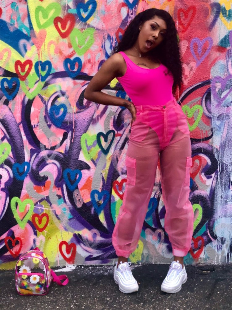 H64243918a14546f5bd1d508ac9a2e456Z - ANJAMANOR Sexy Two Piece Set Bodysuit Top and Mesh Pants Neon Pink Green Summer 2 Piece Club Outfits Matching Sets D59-AB72