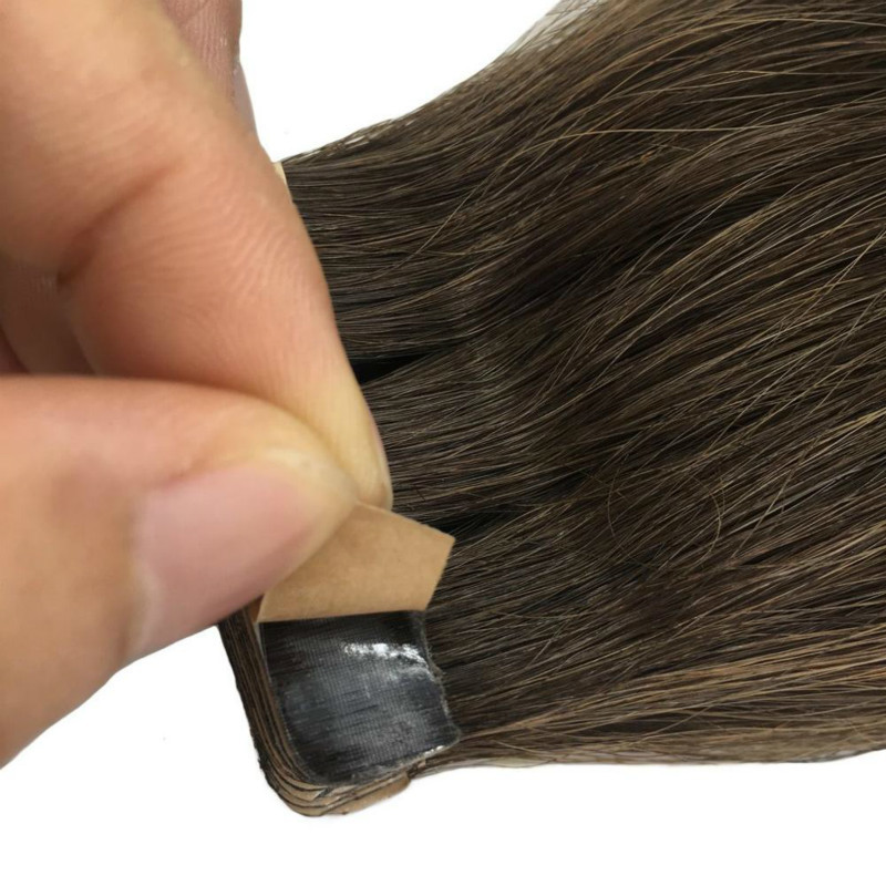 Straight Tape In Human Hair Extensions Seamless Invisible Natural Remy Hair Skin Weft Adhesive Extension Brown