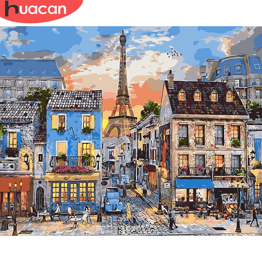 HUACAN Oil Painting By Numbers City Landscape Kits Drawing Canvas Hand Painted Home Decor DIY Pictures By Numbers Street Scenery