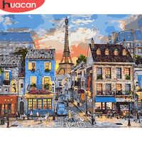 Huacan pintura a óleo por números cidade paisagem kits de desenho lona pintados à mão decoração para casa diy fotos por números paisagem de rua