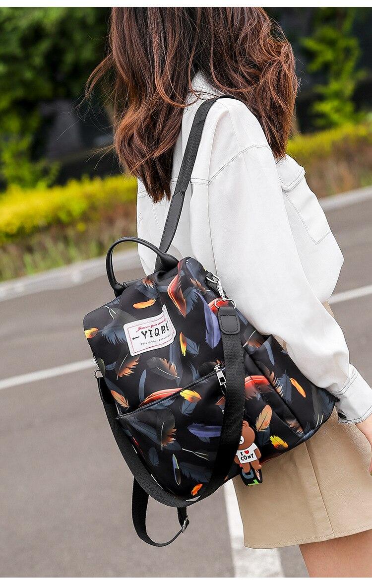 H64247d36ae8f433d9a7274846127cf26d Mochilas mujer 2019 New Oxford cloth waterproof student bag Travel casual backpack women outdoor bag mochila feminina CL05