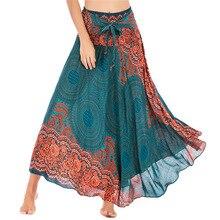 Waist-Skirt Indian Pakistan-Clothing Long-Print Women Casual Yoga Aladdin Gypsy Female