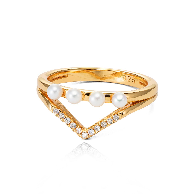 VANAXIN 925 bagues en argent Sterling pour femmes perles naturelles AAA zircon cubique bijoux de mode femmes 3M couleur or cadeau de mariage - 2