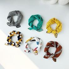 Korean small square silk scarf for women original design plaid striped printed neck kerchief Top Quality ladies scarves