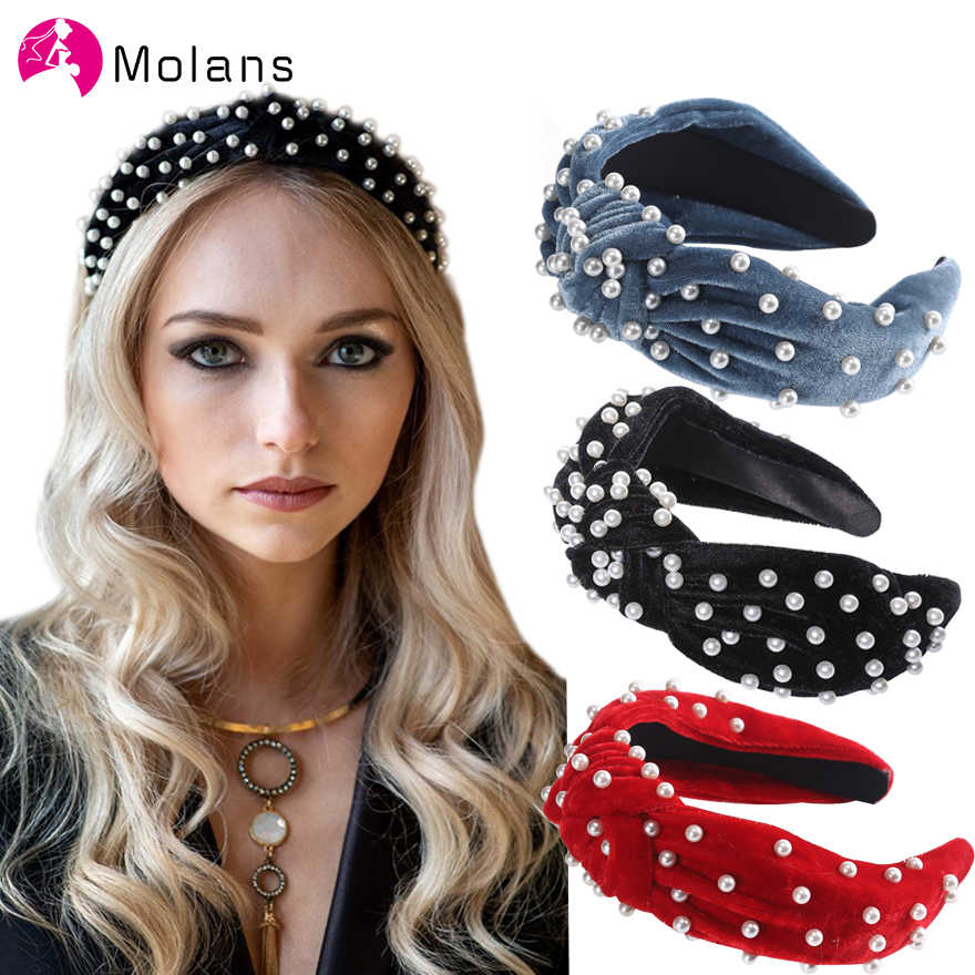 Fashion Women/'s Baroque Pearl Headband Knotted Wide Hairbands Hair Accessories