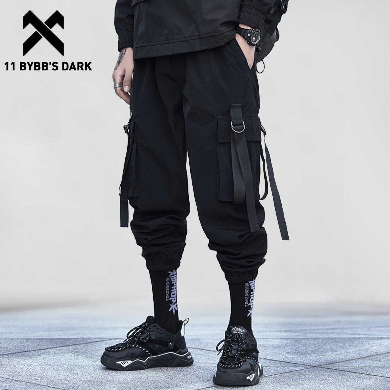 11 BYBB'S DARK Hip Hop Tactical Pants Men 2020 Elastic Waist Ribbon Harem Sweatpants Streetwear Oversize Casual Joggers Trousers