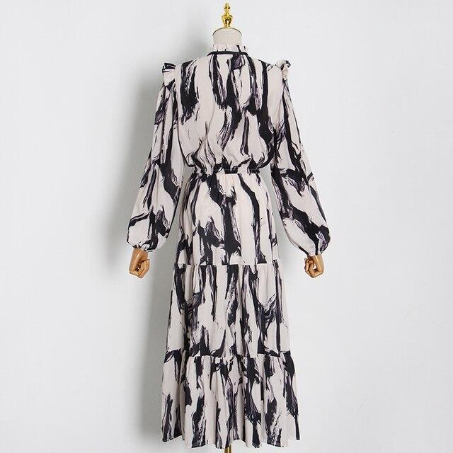 Elegant Color Lantern Sleeve High Waist Vintage Dress 2