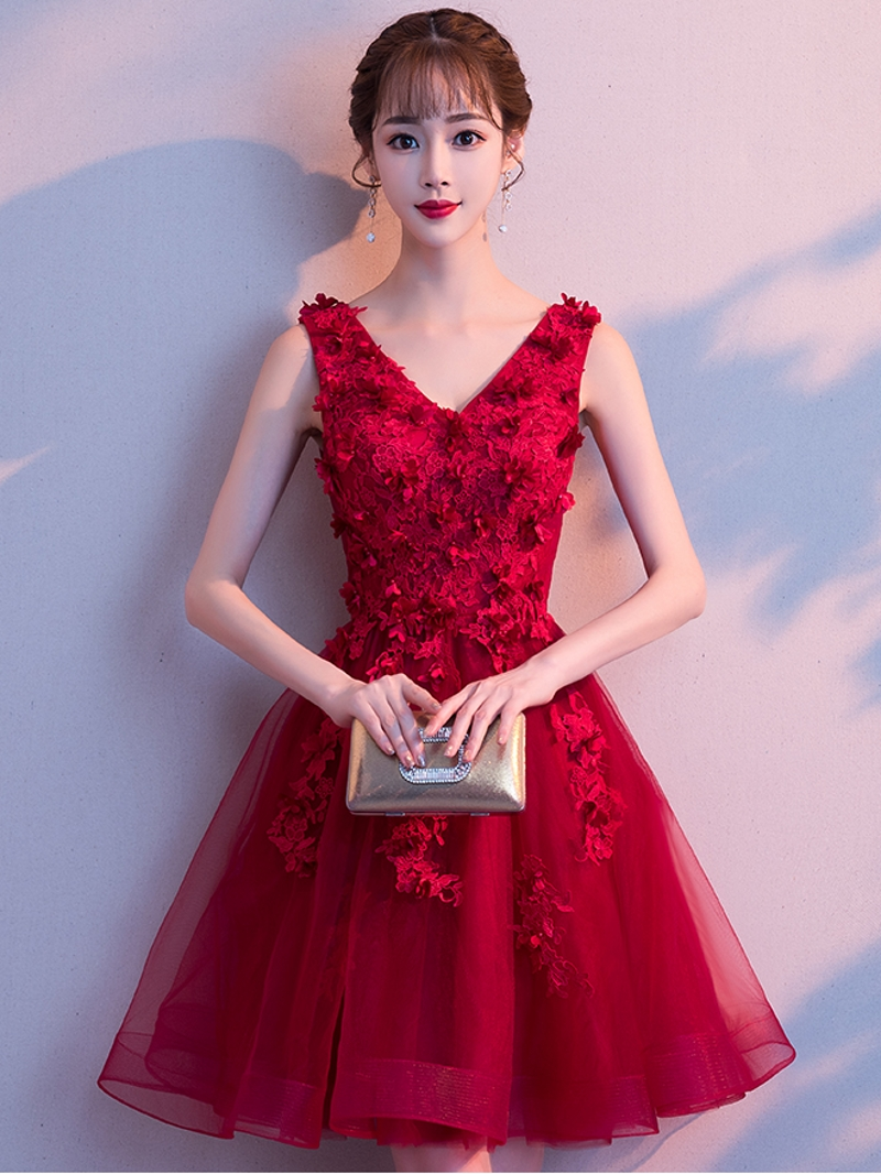 robe de soriee Short Dark Red   Cocktail     Dresses   Lace Appliques Cheap A-line Tulle Sleeveless   Cocktail   Party Prom   Dress   2019