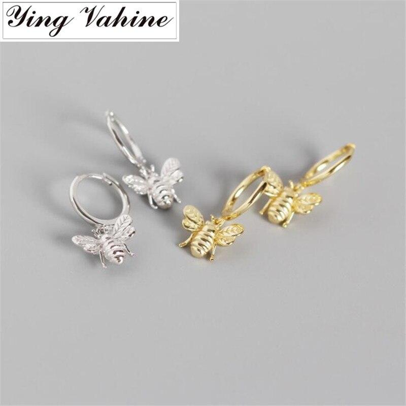 Ying Vahine 100% 925 Sterling Silver Delicate And Lovely Honeybee Pendant Stud Earrings For Women