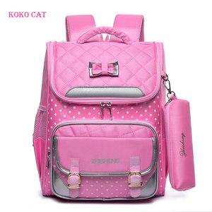 Image 1 - KOKO CAT Girls plecak szkolny tornister ortopedyczny podstawowe torby szkolne dla dziewczynek 9 14 lat Mochila Infantil Sac A Dos Enfant