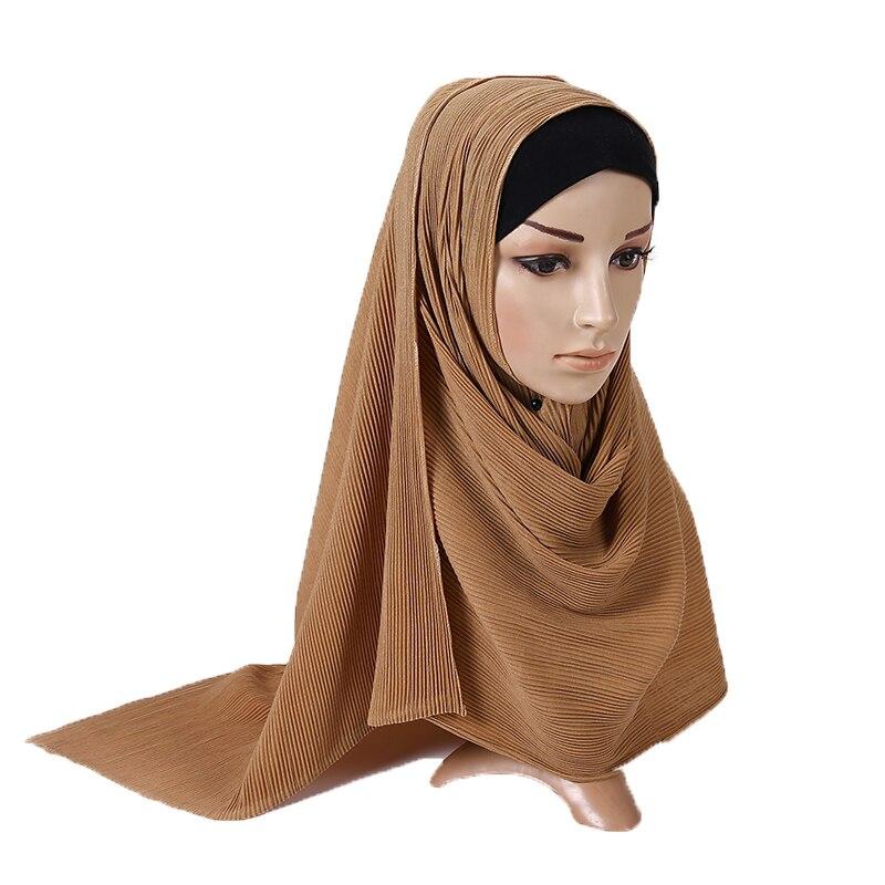 1 Pc Jersey Pleated Wrinkle Hijab Scarf Cotton Plain Elasticity Shawls Crinkle Hijab Long Muslim Head