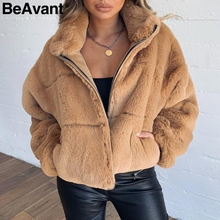 BeAvant gruby pluszowy faux futrzany płaszcz zimowy kobiety na co dzień jesień zamek miękkie kobiet znosić płaszcze typu streetwear z długim rękawem damska kurtka