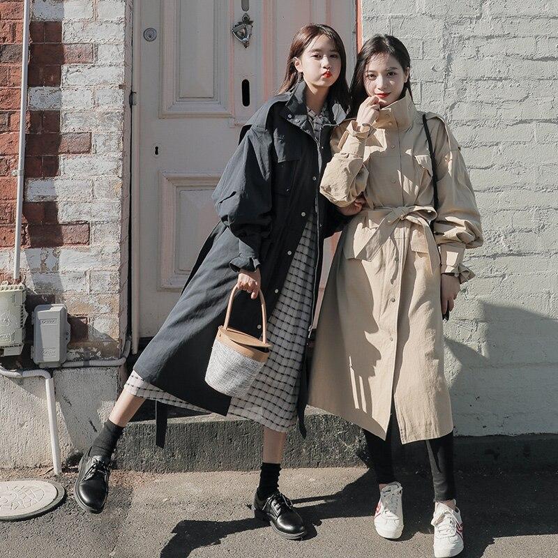 2019Autumn winter new coat   trench   coat oversize long   trench   casual women's long coat long tooling   trench   coat duster Coats