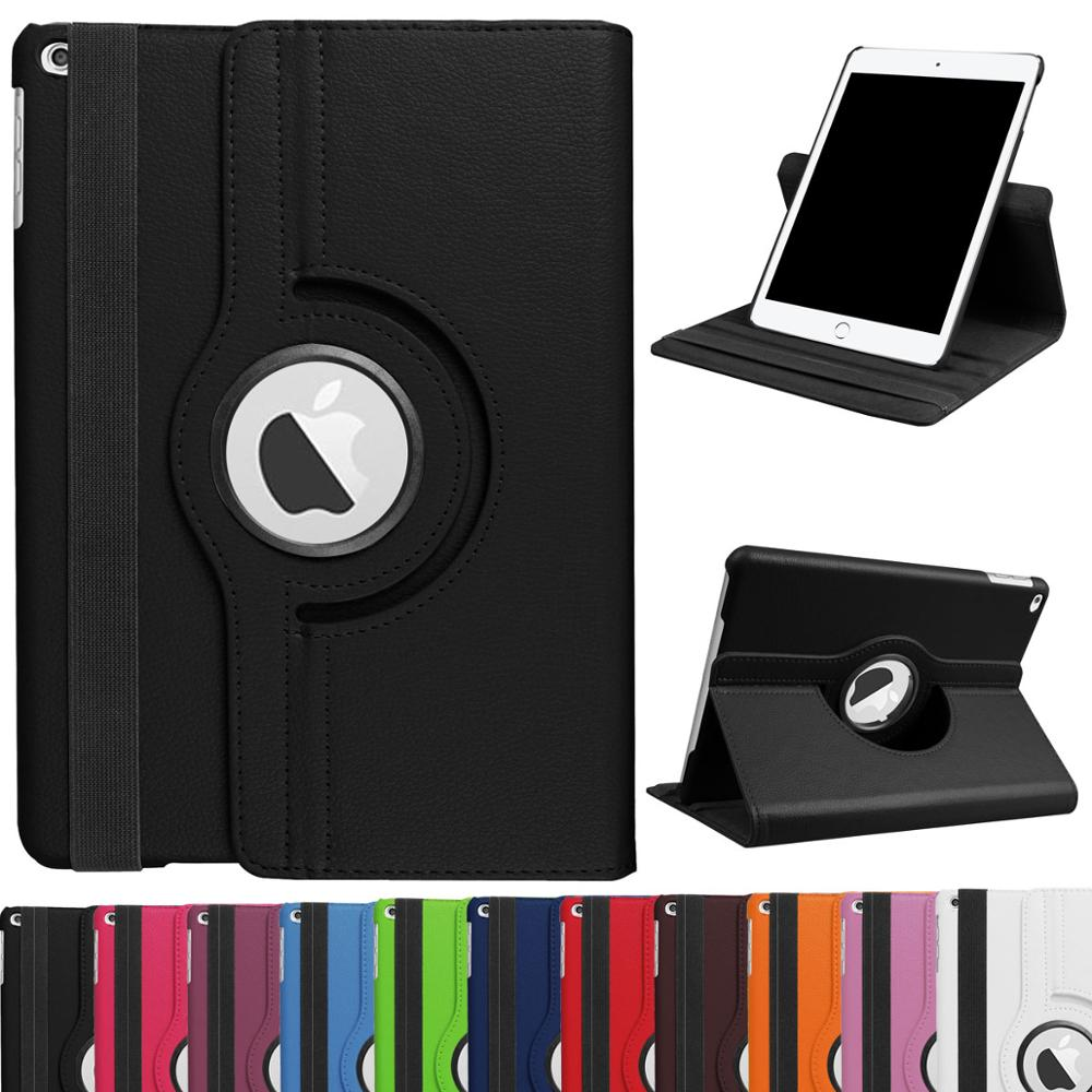 360 Degrees Rotating PU Leather Flip Cover Case for iPad 9.7 2017 2018 Case Stand Case Smart Tablet For iPad 9,7 Air1 Air2 Cover