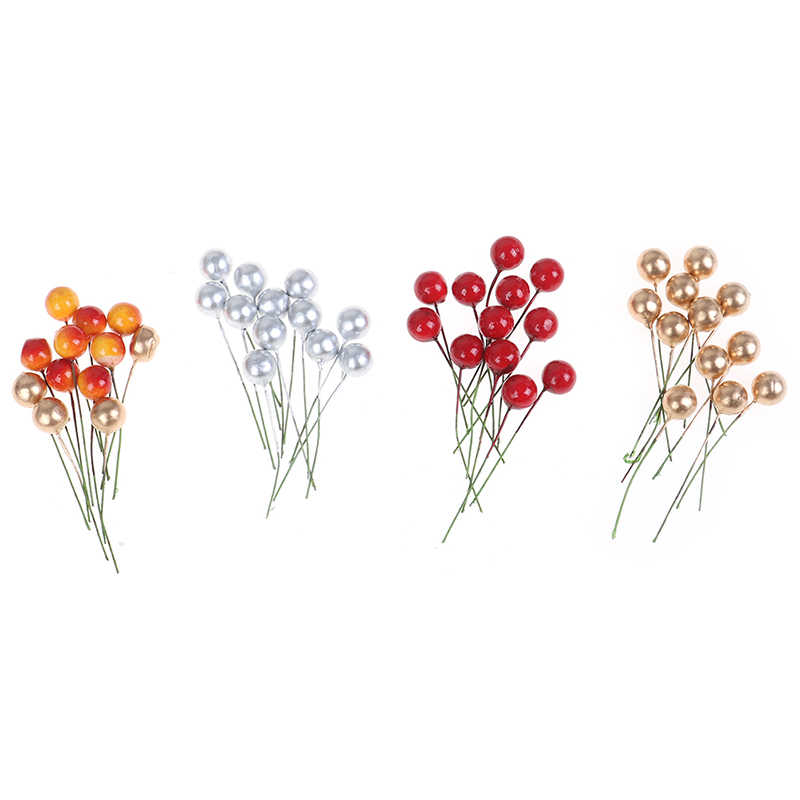 12pcs מיני מלאכותי פרח פירות אבקנים דובדבן חג המולד פלסטיק פרל פירות יער מעוטר זרי חתונה DIY אריזת מתנה