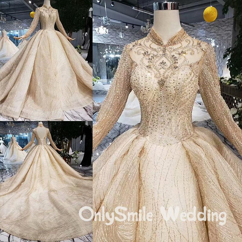 Arabic Middle East Muslim Wedding Dresses Lace Bridal Gowns With Long Train Gold Wedding Gown Bride Dress 2019 Custom Made