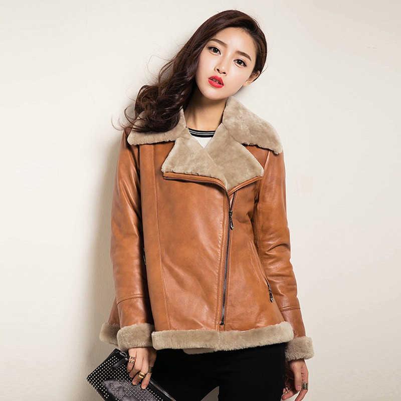 Kulit Real Jaket Mantel Musim Dingin Wanita Alami Domba Bulu Mantel Wanita Asli Kulit Domba Mantel Streetwear Jaket Bomber 1506 S