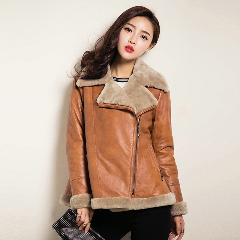 Leather Real Jacket Winter Coat Women Natural Lamb Fur Coat Female Genuine Sheepskin Coat Streetwear Bomber Jackets 1506 S