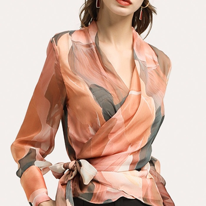 Spring New Chiffon Shirt Female V-neck Shirt Long Sleeve Shirt Small Shirt