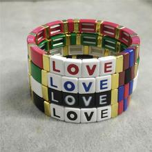 Shinus Tila Bracelet Women Rainbow Bracelets Summer Bohemian Stretch Bangles  Lettr LOVE Jewelry Friendship Pulseira Multicolor