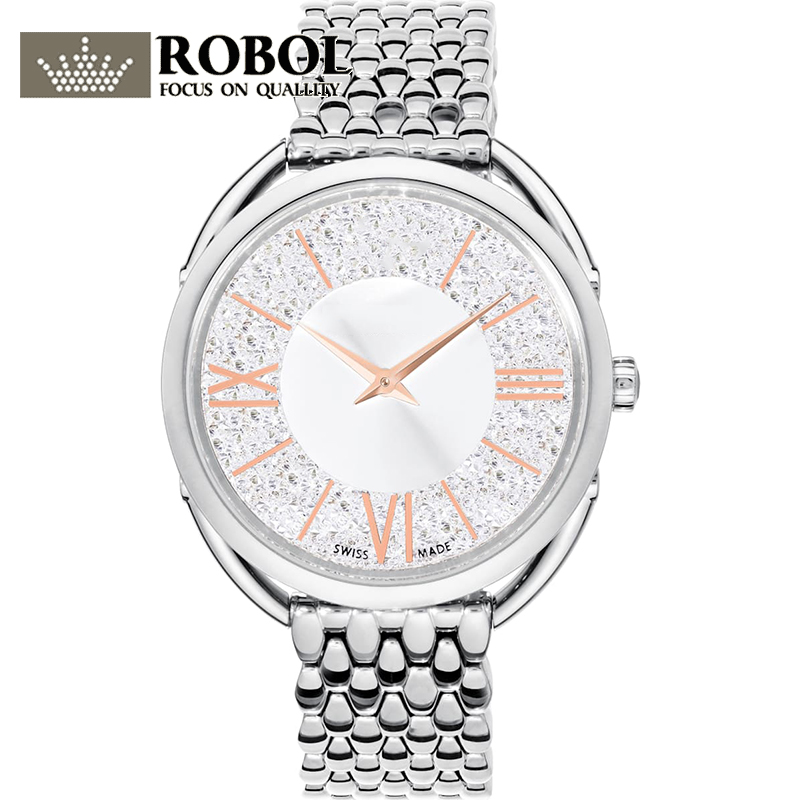High Quality Original SWA New Crystalline Glam Series Crystal Silver White Dial Watch Woman Couple Elegant Luxury Watch Gift