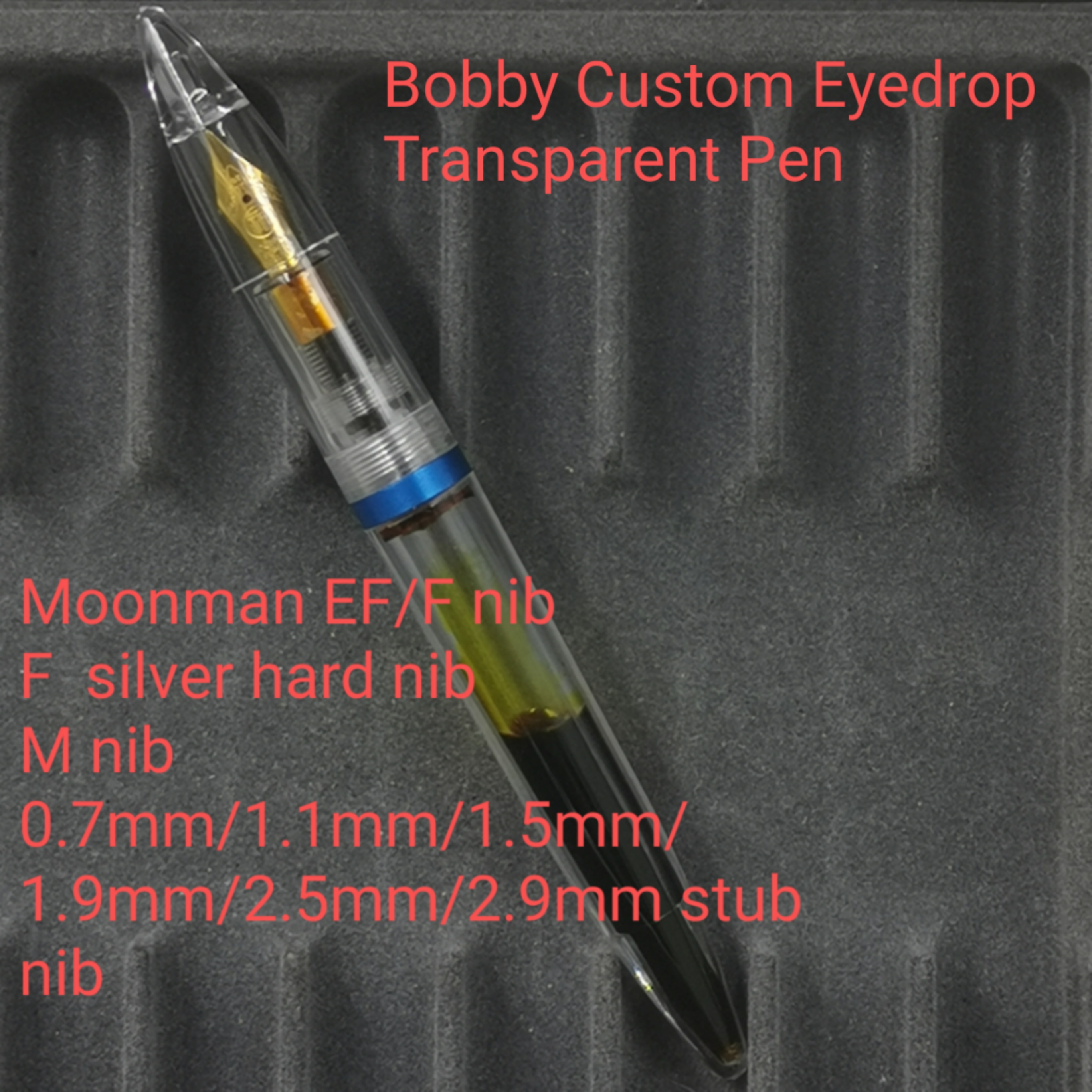 1Pc Bobby Custom Clear Fountain Pen With Moonman EF/F/M/0.7mm/1.1mm/1.5mm/1.9mm/2.5mm/2.9mm Stationery Office School Supplies