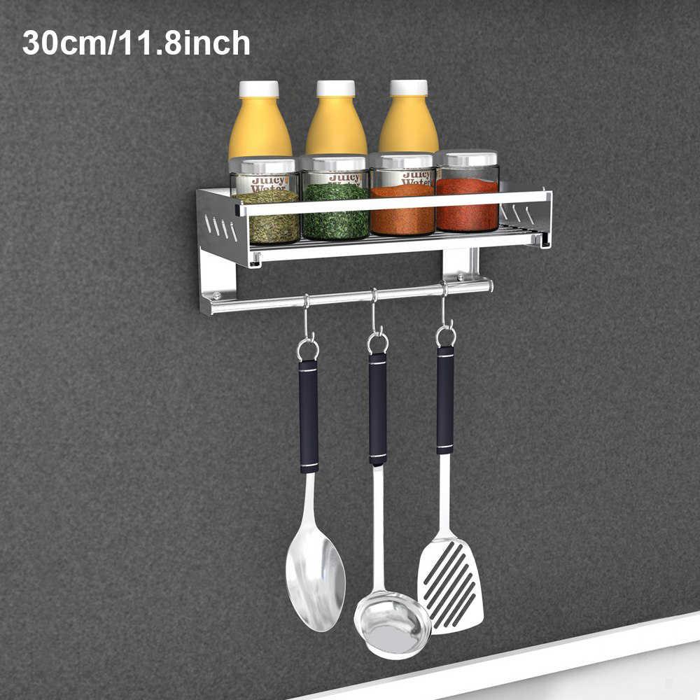 Plank Rack Voor Keuken Badkamer Roestvrij Stalen Dubbele Handdoek Bar Houder Met Haken Wall Mounted Punch-Gratis Opvouwbare Geborsteld