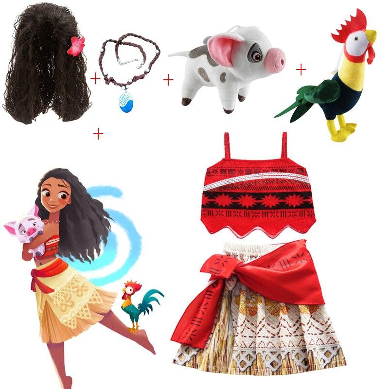 Crianças meninas roupas cosplay princesa vestido moana crianças vaiana meninas vestidos de festa traje com colar animal estimação porco pintainho menina conjunto